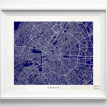 Konya Print, Turkey Print, Konya Poster, Turkey Poster, Nursery Wall Art, Street Map, Kid Room Decor, Baby Room Decor, Halloween Decor