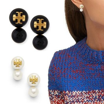 Tory Burch Stylish Women Classic Pearl Pendant Earrings Accessories Jewelry