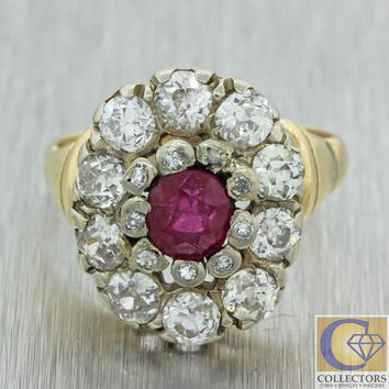 1880s Antique Victorian Estate 14k Yellow Gold Ruby OMC Diamond Cluster Ring