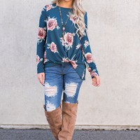 Lawrence Floral Long Sleeve Top (Teal)