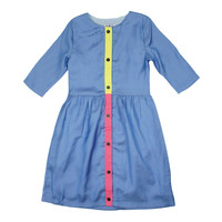 MeMe Girls' Neon Button Blue Dress