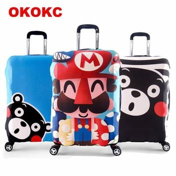 OKOKC Elastic Travel Trolley Cover for 18-32 Inch Luggages Thickened Kumamon Suitcase Covers Fit Your Suitcase