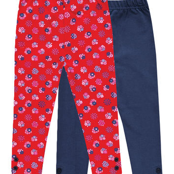 JoJo Maman Bébé 2-Pack Floral Leggings - Red -