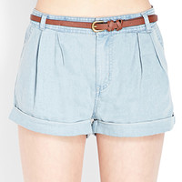 Pleated Chambray Shorts w/ Belt