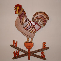 Wall Decor. Sculptured  Rooster on a Weather Vane made of Wood