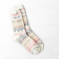 AEO SHIMMERY PRINT STRIPED CREW SOCK
