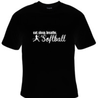 Eat Sleep Breathe Softball White Text T-Shirt Men's