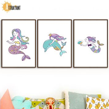 Cartoon Mermaid Dolphin Pearl Nordic Posters And Prints Wall Art Canvas Painting Pop Art Wall Pictures Kids Room Nursery Decor