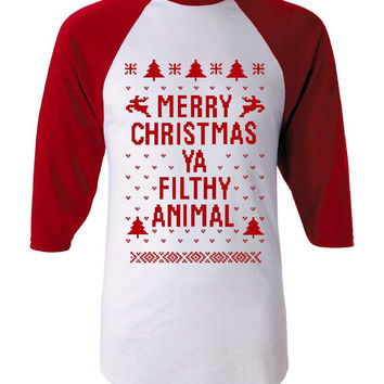 Fantastic Baseball Jersey Ugly Christmas Sweater Holiday Shirt Hottest Seller of The Season Must Have Merry Christmas You Filthy Animal Gift