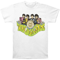 Beatles Men's  Sgt. Pepper's Cartoon T-shirt White Rockabilia