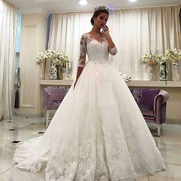 Sleeves Ball Gown Lace Wedding Dresses 2017 Beaded Lace Applique Princess Bride Gowns Custom Made Lu