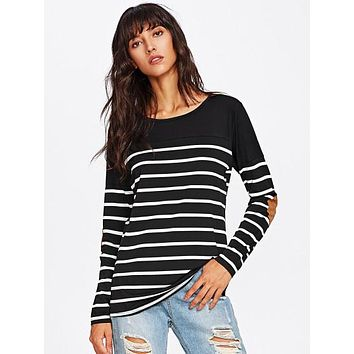 Womens Fashion Elbow Patch Striped Tee