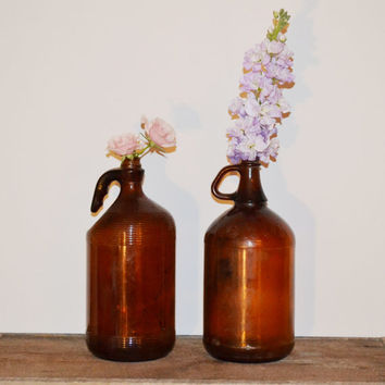 Vintage Bottles Amber Glass Bottles Vintage Amber Apothecary Jars Set of 2 Glass Bottles Vases Wedding Decor