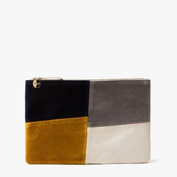 Clare V. / Patchwork Grid Flat Clutch