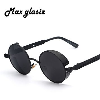 Maxglasiz Brand new Mirror Lens Round Glasses Goggles Steampunk Sunglasses Vintage Retro For men and women Hisper Eyewear