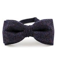 Men's Bow Tie by BartekDesign purple violet herringbone wool plaid pre tied