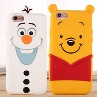 New For Coque iPhone 7 Olaf Winnie Pooh Toy Soft Silicon Funda Cover for iPhone 7 Plus 6 6S 5S SE Winnie Olaf Coque Case