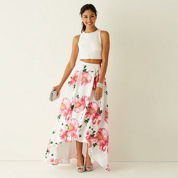 My Michelle® Sleeveless Lace Top and Floral Print High-Low Skirt 2-pc. - JCPenney