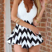 Black and White Lace V-neck Halter Backless Wave Pattern Mini Skater Dress