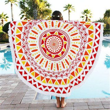 Indian Round Ombre Mandala Beach Throw Tapestry Bohemian Wall Hanging Bedspread Decor