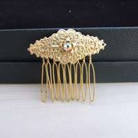 Wedding Headpiece Matt Gold Hair Comb Bridal Hair Accessory with Swarovski Crystal Vintage Hair Cpmb