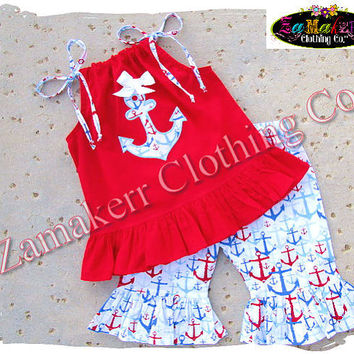 Custom Boutique Clothing Girl ANCHOR Red Top Pant Outfit Set Fourth 4th of July Birthday Pageant 3 6 9 12 18 24 month size 2t 3t 4t 5t 6 7 8