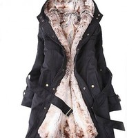 Women's Leisure Thicken Detachable Faux Fur Hooded Long Coat - BuyTrends.com
