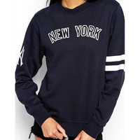 "Blue ""NEW YORK"" Print Long-Sleeve Pullover Shirt"
