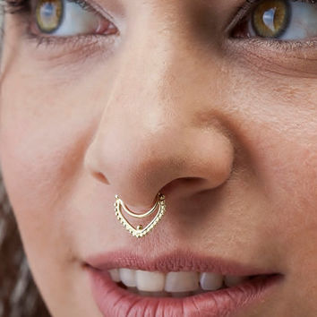 Large Septum Ring, 16g Septum Piercing, Solid 14k Gold Septum Jewelry, Nose Ring, Gold Nose Ring, Nose Bling, Yellow Gold Jewelry