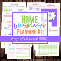Home Business Planner-Printable, Etsy Business Planner, Work at Home Organization-BRIGHT-18Documents-INSTANT DOWNLOAD &Editable