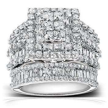2 4/5 Diamond Engagement Ring and Wedding Band Set 14K White Gold