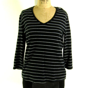 Vintage Black and White Striped Top - Shirt V-Neck T-Shirt Breton Preppy - Women's Size Small Sm S - Sale