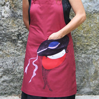 ON SALES Cotton Apron Rosali with front pocket, wine red hand painted
