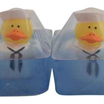 2 Pack Handmade Glycerin Rubber Military Duck Toy Soap Bar (5 Oz) with a Gift Bag (Navy)