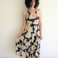 Vintage 90s Navy and Large Sunflower Grunge Maxi Dress