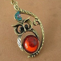 cute lovely owl Necklace with crystal eye by sweethearteverybody