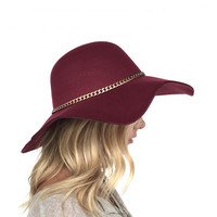 Hold My Breath Wool Floppy Hat In Burgundy