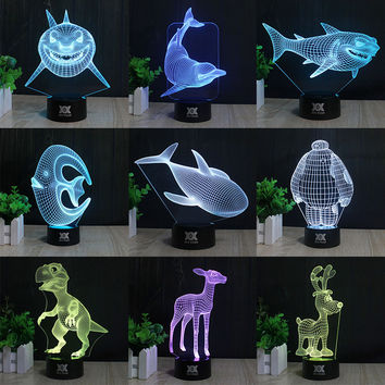 HUI YUAN Shark led Table lamp 3D Touch Control Night 7 Colors Change USB LED Desk Table Light Lamp Power Bank Abajur Night Light