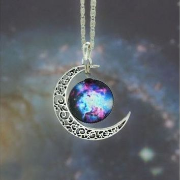 DCCK0OQ Nebula Galaxy Cabochon Necklace, Bib Necklace, Charm Necklace,Moon necklace, Galactic Cosmic Moon Necklace