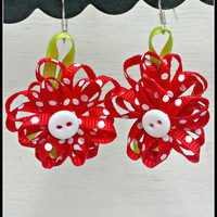 Adorable Red Flower Ribbon Earrings/ Bright Cheerful Floral Jewelry/ Boho Chic Red Drop Earrings