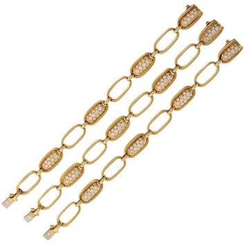Van Cleef & Arpels Set of Three Diamond Gold Convertible Link Bracelets Necklace
