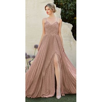 Pleated Metallic Long Prom Dress with Slit Mauve