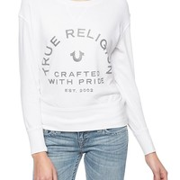 True Religion Crystal Crafted With Pride Womens Sweatshirt - White