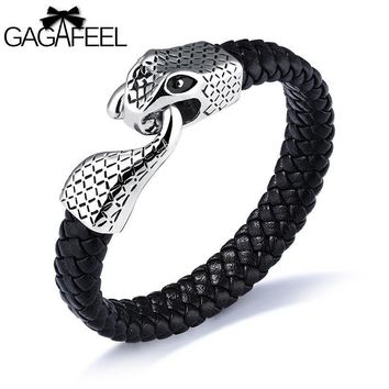 GAGAFEEL Snake Chain Buckle Cowhide Bracelet Punk Personality Men's Stainless Steel Leather Bracelet Charm Tide Hand Jewelry