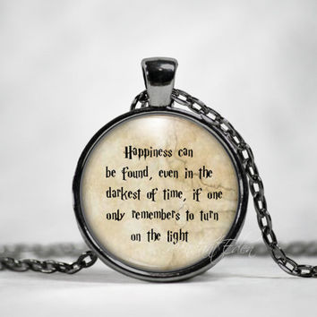 Harry Potter necklace Harry Potter keychain Happiness Can Be Found Quote Necklace Harry Potter Jewelry Albus Dumbledore quote Harry Potter