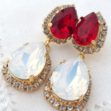 White opal and deep red halo Crystal Chandelier earrings, Drop earrings, Dangle earrings, Bridal earrings, bridesmaids gift, Pave earrings