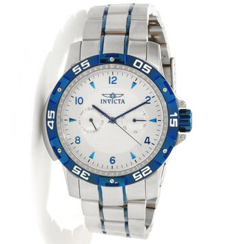 Invicta 10307 Mens Specialty Sport Blue Bezel Silver Dial Stainless Steel Watch