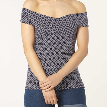Navy geo wrap bardot top - Dorothy Perkins