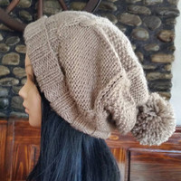 Grey Beige oversized beanie -Women Winter, Winter Fashion,Slouch Beanie,Christmas knit fashion,gifts for her,cable knit chuncky hat tassel