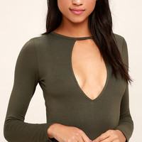 I'm Yours Olive Green Bodysuit